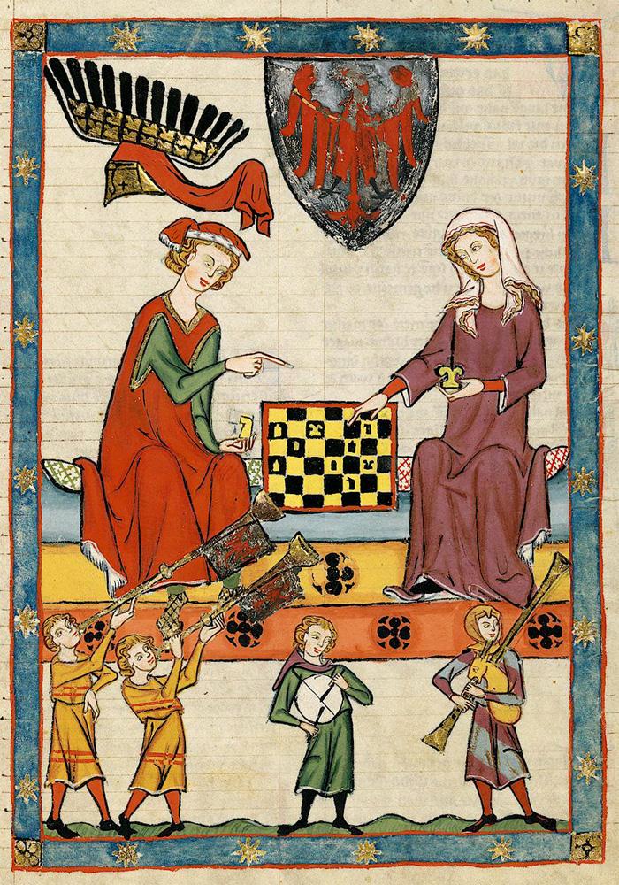 El rey Otto IV de Brandeburgo jugando al ajedrez con una mujer. Maestro del Codex Manesse. 1305-1340