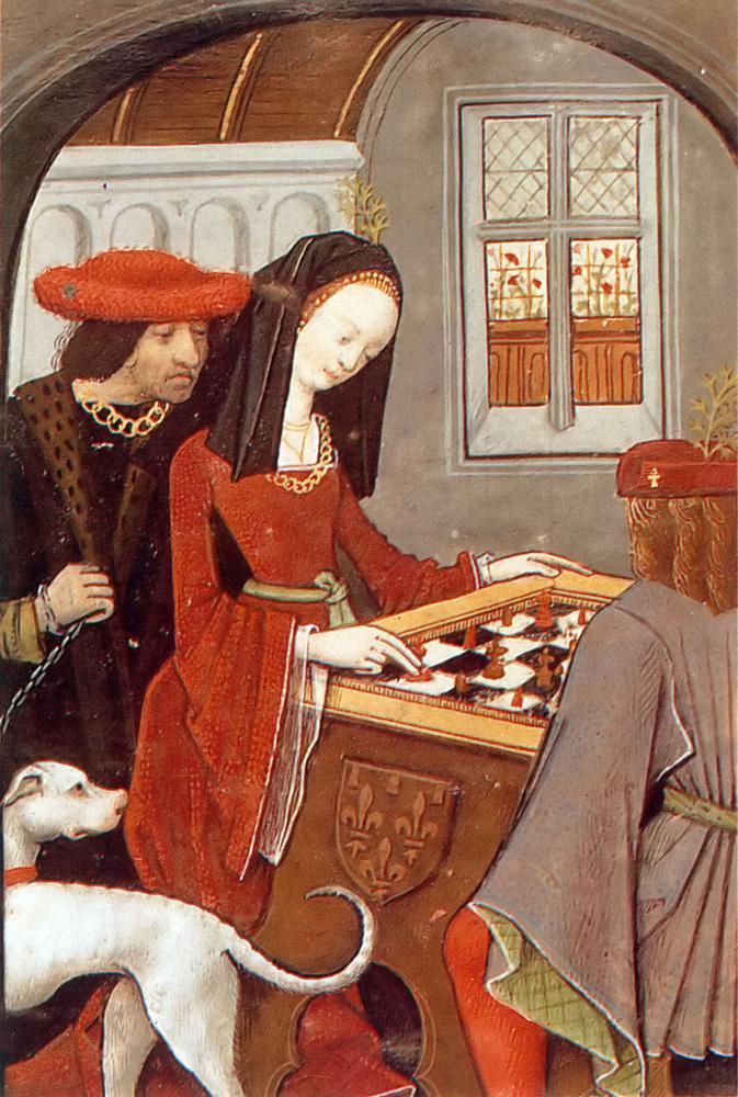 Charles d'Angoulême y Louise de Savoie jugando ajedrez. Robinet Testart. 1496/1498.
