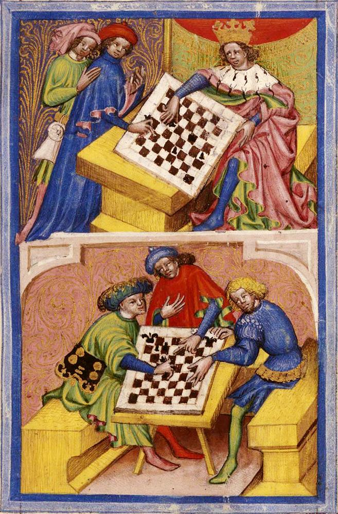Tractatus de ludo scacorum. Miniatura del siglo XV.