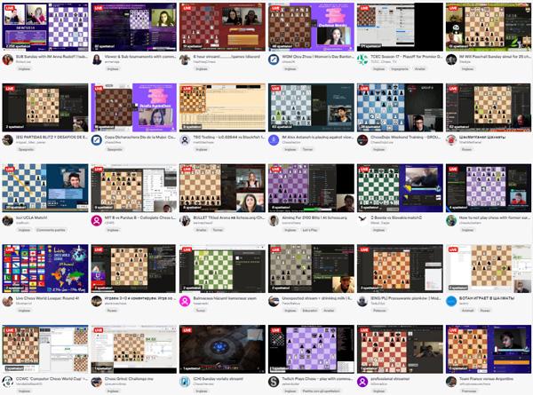 Plataforma con transmisiones video en vivo de partidas de ajedrez