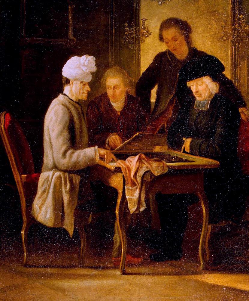Voltaire jugando al ajedrez con el padre Adam. Jean Huber. 1770/1775.