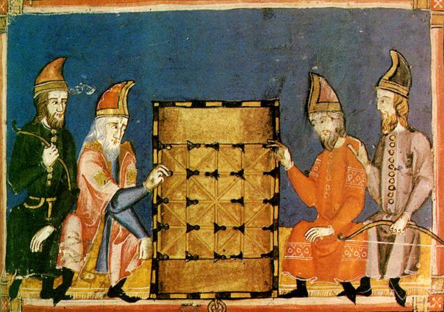 """Imagen de el Alquerque en el Libro de los juegos encargado por Alfonso X de Castilla """"el Sabio"""" entre 1252 y 1284"""