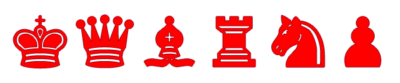 Piezas de Ajedrez rojas para imprimir