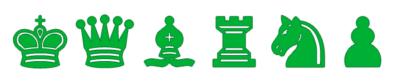 Piezas de Ajedrez verdes para imprimir
