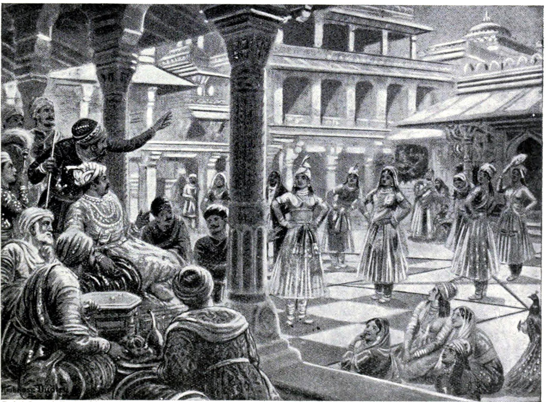 Akbar jugando con piezas vivas en Fatehpur Sikri - 1575