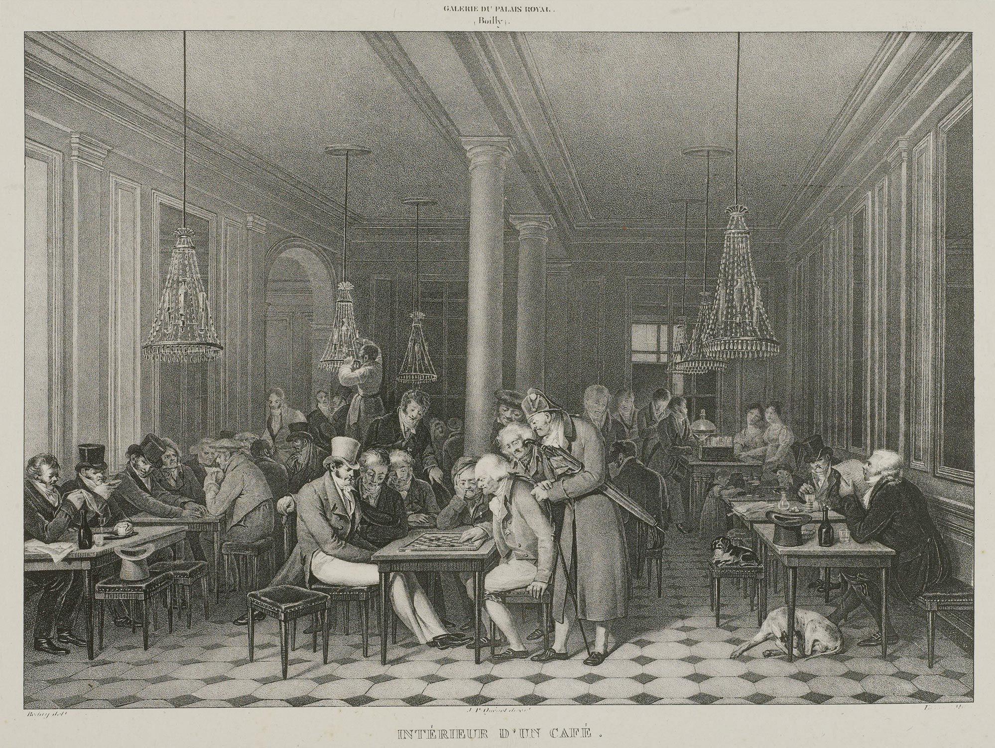 Interior de un café - Galería del Palacio Royal: Boilly - 1808