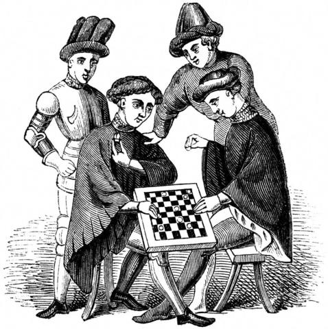 Jugando a damas - Old England: A Pictorial Museum - 1845