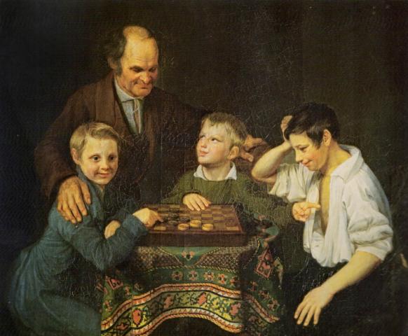 Jugando Damas - Pyotr Ivanovich Pnin - 1824