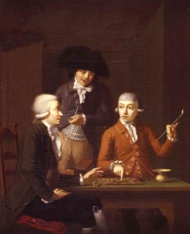 Una mesa con tres hombres jugando Damas - Dirk Jacobs Ploegsma - 1790